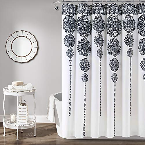 Lush Decor Stripe Medallion Shower Curtain-Fabric Mandala Bohemian Damask Print Design, x 72