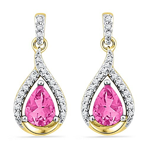 (Lab-created Pink Sapphire Earrings with Genuine Diamond Accents 10k Yellow Gold)