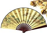 100% Polyester Wood Hand Fans Chinese Vintage Fancy Dress Costume Men'S Decorations Craft Supplies Gift Party Decoration