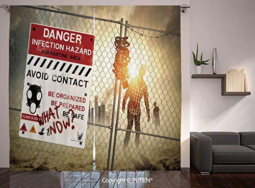 Thermal Insulated Blackout Window Curtain [ Zombie Decor,Dead Man Walking Dark Danger Scary Scene Fiction Halloween Infection Picture,Multicolor ] for Living Room Bedroom Dorm Room Classroom Kitchen C -