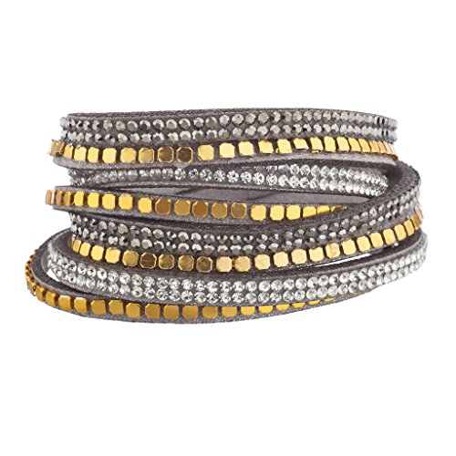 Lux Accessories Grey Gold Tone Bead Hem Crystal Double Row Suede Wrap (Crystal Double Row Bracelet)