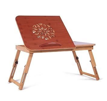 LAMXF-Mesa para ordenador Escritorio plegable de bambú del ordenador portátil con la fan y el ...