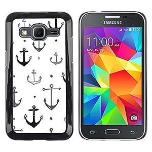 LECELL--Funda protectora / Cubierta / Piel For Samsung Galaxy Core Prime SM-G360 -- Boat Ship Captain Anchor White Clean --