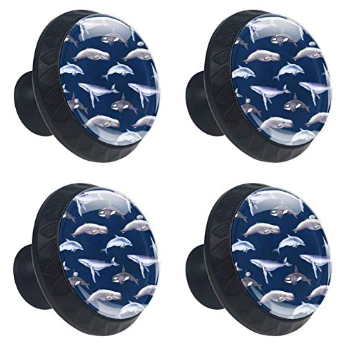 Idealiy Killer Whale Dolphin Pattern Drawer Pulls Handles Cabinet Dressing Table Dresser Knob Pull Handle with Screws 4pcs