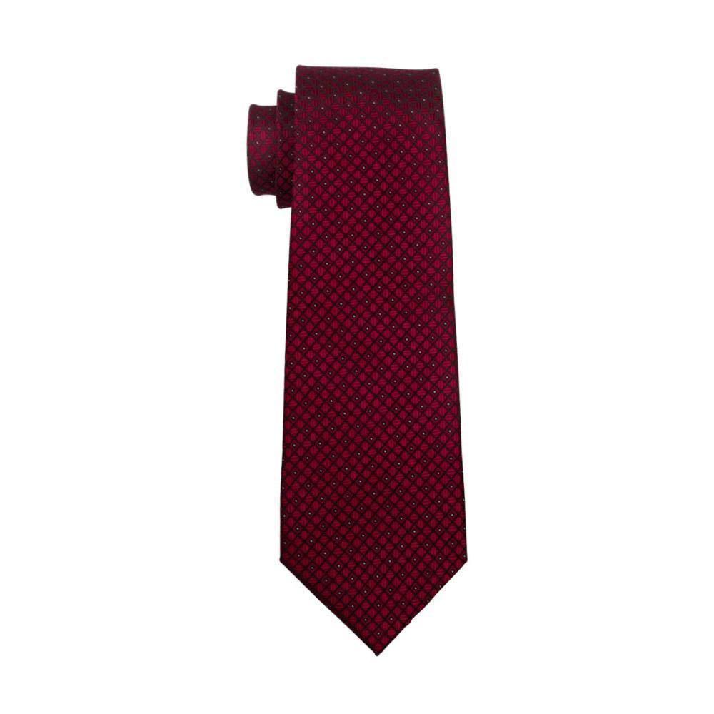 FA-704 Mens Tie Red Plaid Silk Jacquard Neck Tie Tie Hanky Cufflinks Set Ties