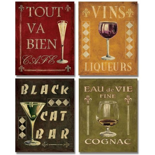 WallsThatSpeak 4 Vintage Martini Wine Cocktail French Art Deco Prints Retro Bar Posters, 11 x 14-Inch, Red/Black/Green/Gold