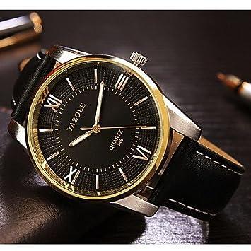 XKC-watches Relojes para Hombres, YAZOLE Hombre Reloj de Vestir Cuarzo Noctilucente Piel Banda Negro Marrón Negro Marrón (Color : Negro): Amazon.es: ...