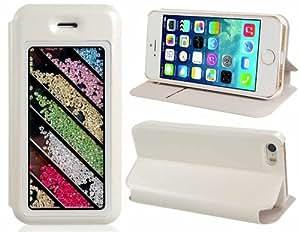 Diseño rayado cristal adornó Faux Funda de cuero Flip para iPhone 5S / 5 (Blanco)