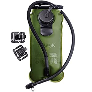 RIQIK Military Hydration Bladder with Clips to Hold Drinking Tube - Premium Quality LeakProof Water Storage Tank - Replacement Reservoir for Backpacks- 3 L Capacity - For Biking, Hiking, Traveling