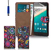 32nd® Design book wallet PU leather case cover for Google Nexus 5X (2015), including protector and cleaning cloth - Jellyfish