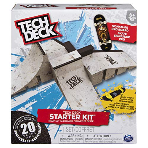 Small Skateboard Deck - Tech Deck - Starter Kit - Ramp Set with Exclusive Board and Trainer Clips