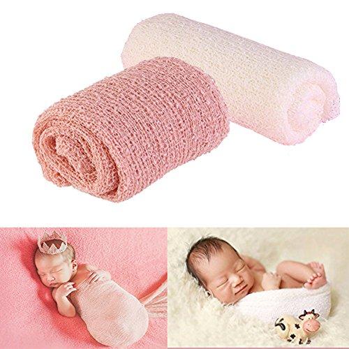 DmsBanga 2 Pcs DIY Newborn BabyWrap Toddler Blankets Photography Ripple Wrap Photo Favors Color Cloth Pink + White