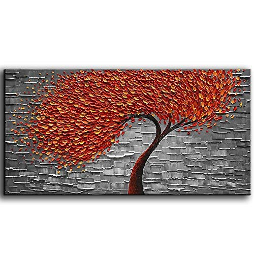 - YaSheng Art -Hand Painted Contemporary Art Oil Painting On Canvas Texture Palette Knife Red Tree Paintings Modern Home Decor Wall Art for Living Room Office Framed Stretched Ready to Hang