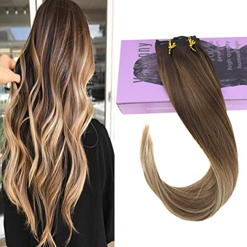 VeSunny 18inch Balayage Clip in Extensions Human Hair #4 Dark Brown Fading to #6 Mixed #22 Blonde Full Head Hair Extensions Clip in Human Hair 7pcs 120g/set