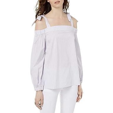 ba6c5fbf0c959 Michael Michael Kors Womens Striped Off-The-Shoulder Pullover Top Purple XS