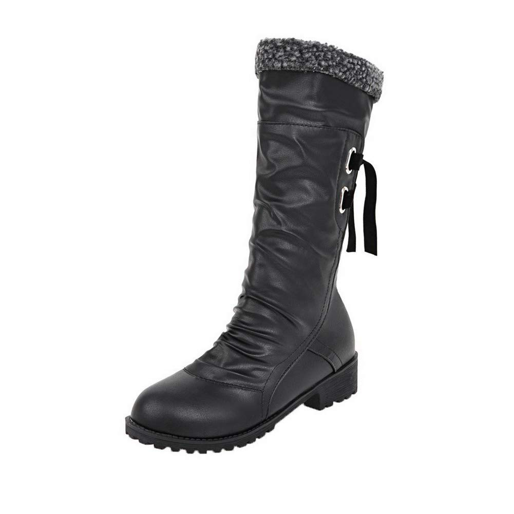 WeenFashion Womens Lace-Up Low-Heels Pu Solid Mid-Calf Boots AMGXX015030