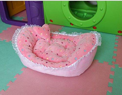 Happy- little -bear Forniture per Animali Domestici con materassino per Cani per Cani Nest Lngot Caldo (Stile Punta d'onda rosa)