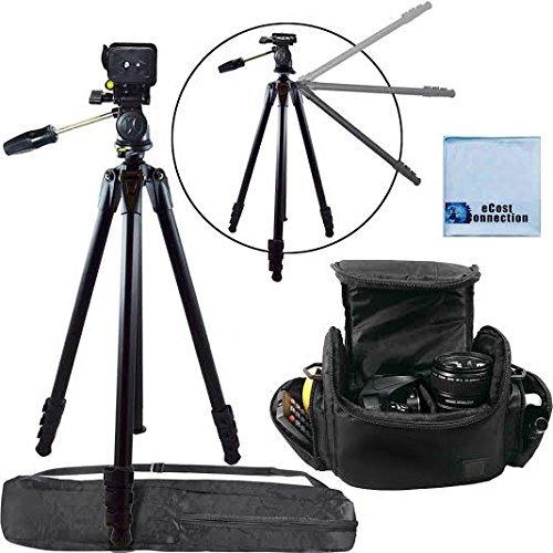 80インチ エリートシリーズ プロフェッショナル 高耐久 カムコーダー三脚 + デジタルカメラ/ビデオパッド入りキャリーケース ラージ (ブラック) Pentax K-01 K3 K5 K7 K30カメラなど用 + マイクロファイバークロス   B00IYSEGAK