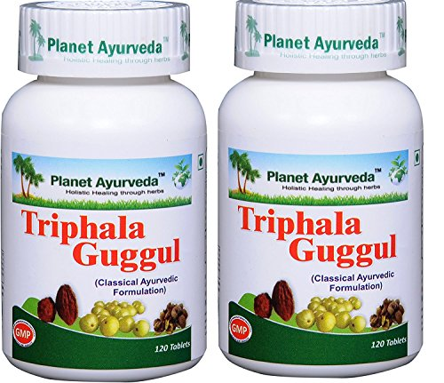 Triphala Guggul - 2 bottles (each 120 tablets, 500mg) - Planet Ayurveda - US seller by Planet Ayurveda