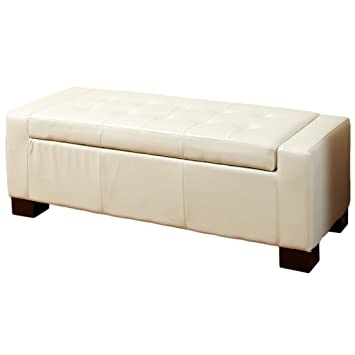 Marvelous Christopher Knight Home Rothwell Ivory Leather Storage Ottoman Gamerscity Chair Design For Home Gamerscityorg