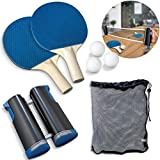 Sharper Image 7-Piece Retractable Tabletop Tennis Game Set, Play Almost Anywhere with Expandable Net, 2 Paddles and 3 Balls, Includes Convenient Portable Drawstring Bag