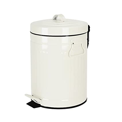 Bathroom Trash Can With Lid, Small White Trash Can For Bathroom Bedroom,  Retro Step