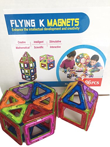 Magnetic Blocks, Flying K Magnets, 86 piece building shape set for discovery, creativity, and educational mathematical thinking (Flying Magnet)