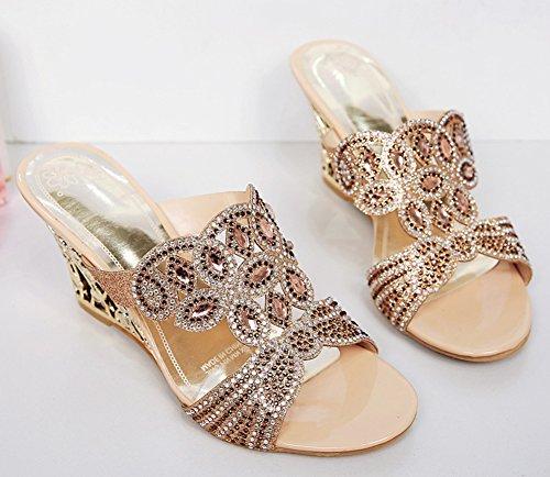 Medium Women's Mule Sandals Gold Fashion Aisun Rhinestones Heels Wedge tz4HH