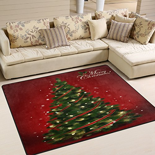 ALAZA Red Merry Christmas Tree Area Rug Rugs for Living Room Bedroom 7′ x 5′ For Sale