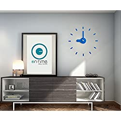 Contemporary Wall Clock, Kids Room, Kitchen, home, Japanese Design Award, DIY Stickers Installation On Flat Surfaces & Mirrors, Accurate & Silent Quartz Movement Great Gift. Bee-On-Time(Blue Mountain)