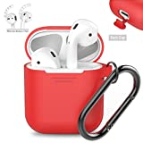 [Bundle] AhaStyle Full Cover Portable AirPods Silicone Case with One Pair of AirPods Ear Hooks-(Red Case + White Ear Hooks)