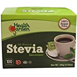 Health Garden All Natural Stevia Sweetener Packets - Kosher - Gluten Free - Sugar Free (100 Packets)