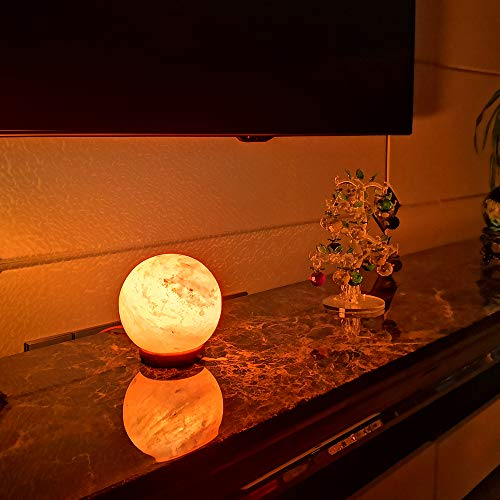 pursalt Himalayan Salt Lamp Night Light Pink Rock Salt Crystal Large Lamp Hand Carved with Taly Wood Base,2 Bulbs for Lightning,Air Purifying,Gifts, Global by pursalt (Image #4)