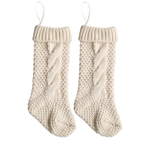 Toe Christmas Stocking (17 Inch Knitted Christmas Stockings, Pack 2 Xmas Gift Bags Cream)
