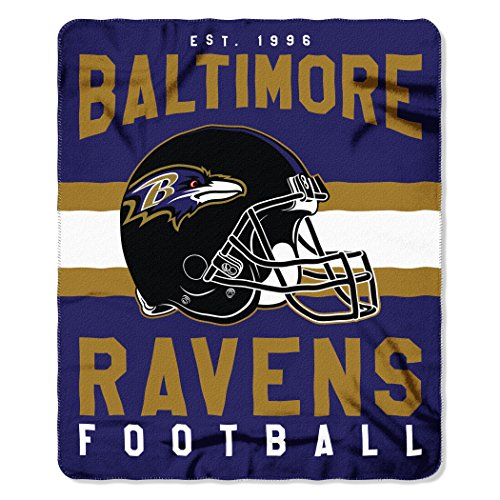 The Northwest Company NFL Baltimore Ravens Singular Fleece Throw, 50-inch by 60-inch, Black]()