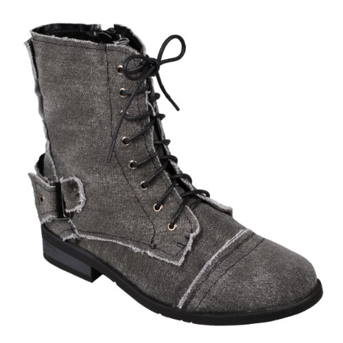Brinley Co. Womens Buckle-Strap Lace-Up Combat Boots Black 8.5