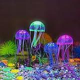 Glowing Jellyfish,Govine 4pcs Glowing Jellyfish For Aquarium Fish Tank (medium)