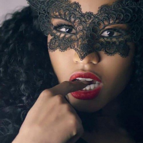 [Venetian Black Masquerade Mask, Snowfoller Sexy Girl Lace Eye Mask for Halloween Masquerade Party Bars] (Opera Eye Mask)