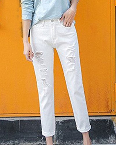 Pantaloni Mengmiao Grandi Jeans Del Donne Strappati Femminili Ginocchio Bianco Slim 7q7r8