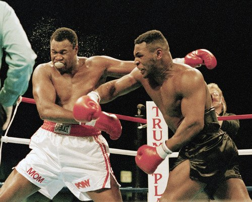 (Mike Tyson Larry Holmes throwing punch boxing legends 8x10 Promotional Photograph)