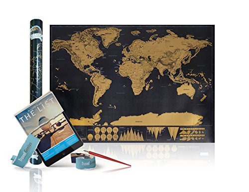 World Scratch Off Travel Map Bundle– Large Scrape-Off Earth Wall Poster For Adventurous Travelers – Perfect Traveller's Personalized Gift, Stylish Memory Keeper With FREE Scratch Pen & E-Book