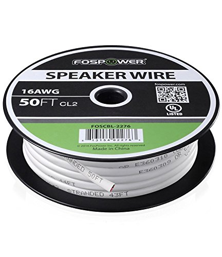 FosPower 16 Gauge Speaker Wire 50FT, CL2 Rated 16AWG 2-Conductor In-Wall Speaker Wire Cable, Oxygen-Free Pure Copper - UL Listed for In-Wall Installation