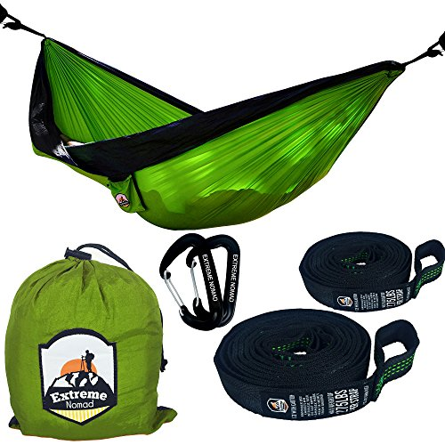 Double Parachute High-end Travel Camping Hammock with 9 foot Premium Tree Straps with 15+1 Loops and Wire Gate Carabiners (Green/Gray, Double) 0.5' Green Bar
