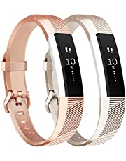 Tobfit For Fitbit Alta HR Strap, Adjustable Replacement Soft Sport Straps for Fitbit Alta HR and Fitbit Alta (NO Tracker) (3-Pack Rose gold+Silver+Grey, Small)