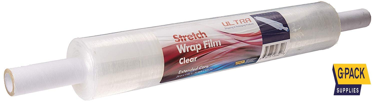 "Gpack 20"" x 1100 FT 1 Roll – 65 Gauge Thick Stretch Moving & Packing Wrap. Industrial Strength, Clear Plastic Pallet Shrink Film Ideal for Furniture, Boxes, Pallets. (20inch x1100Ft 65Gauge)"