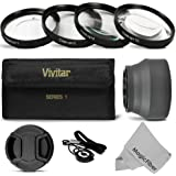 Vivitar 55MM Close Up Macro Filters and Accessory Kit for SONY Alpha Series A99 A77 A65 A58 A57 A55 A390 A100 DSLR Cameras with a 18-55MM Zoom Lens - Includes: Vivitar Macro Close-Up Filter Set + Collapsible Lens Hood + Center-Pinch Lens Cap w/ Cap Keeper Leash + MagicFiber Microfiber Lens Cleaning Cloth