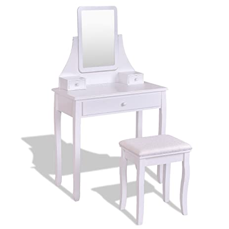 Incroyable Square Mirrored Vanity Dressing Table Set W/ 3 Storage Boxes