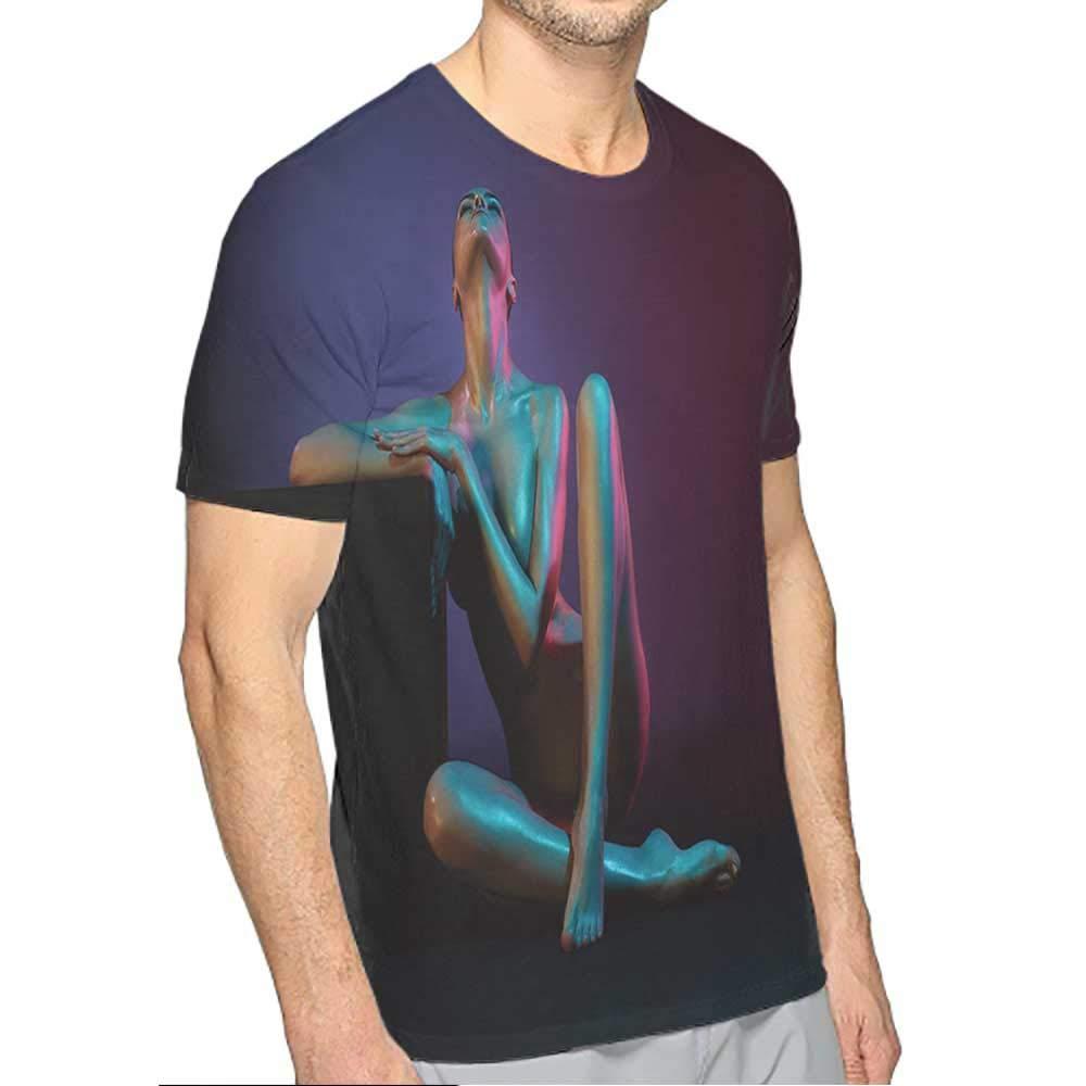 PRUNUS T-Shirt v Black for Men Fashion Mens 3D Top Tees