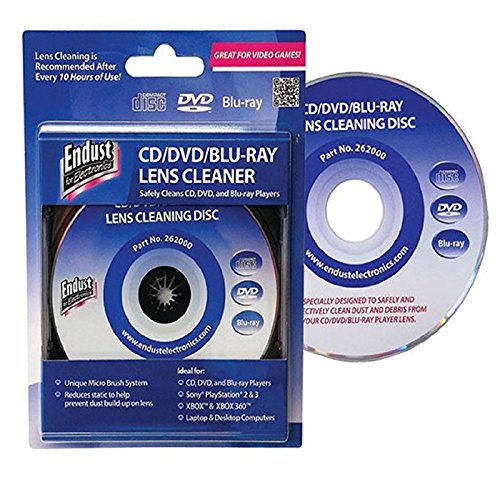 Blu Ray Lens Cleaner (Endust 262000 Laser Lens Cleaner Disc for PlayStation Xbox One Xbox 360 Gaming Consuls Laptop and Desktop Computers CD Players Blu-Ray CD-DVD)