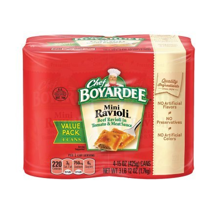- Chef Boyardee Mini Beef Ravioli In Tomato & Meat Sauce, 4pk